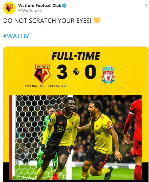Watford oficial de Twitter: no te frotes los ojos, el puntaje 3-0 es correcto, el Arsenal no necesita agradecer